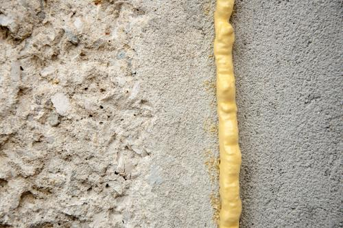 Polyurethane foam on wall