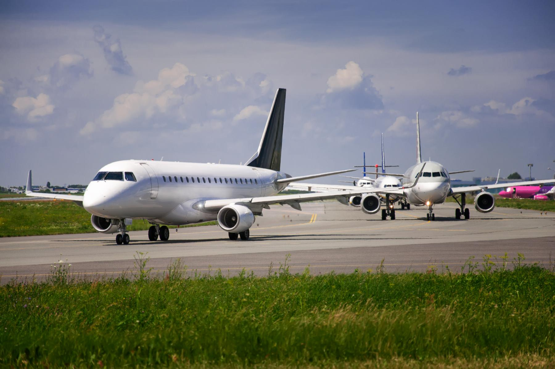 Planes on a crowded runway