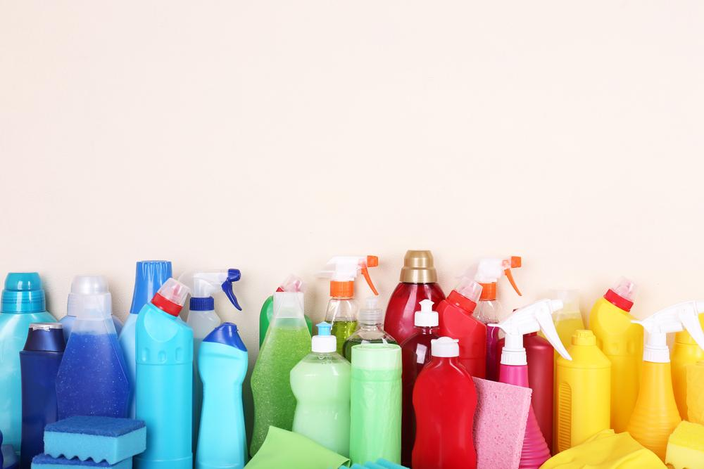 Greenwashing: cleaning products on a shelf