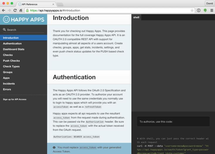 API Docs Page