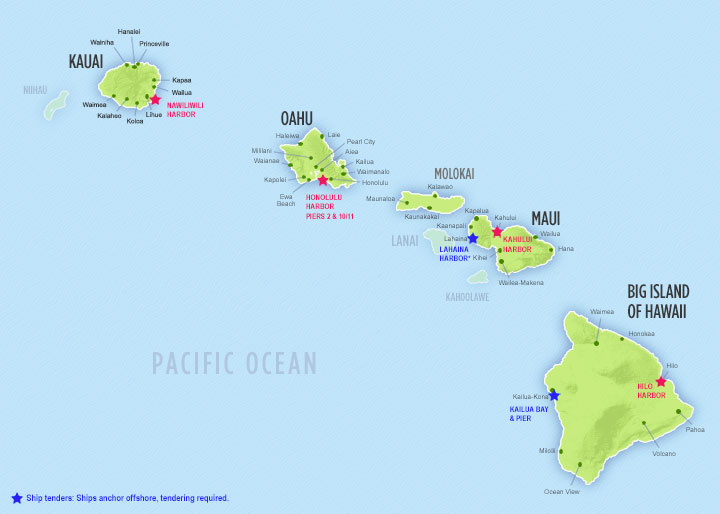 Cruise ship ports on major islands. Click to enlarge.
