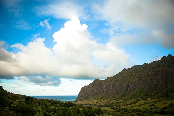View of Kualoa Valley.  Photo courtesy of Hawaii Tourism Authority (HTA) / Daeja Faris.