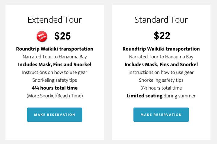 Hanauma Bay Shuttle Pricing