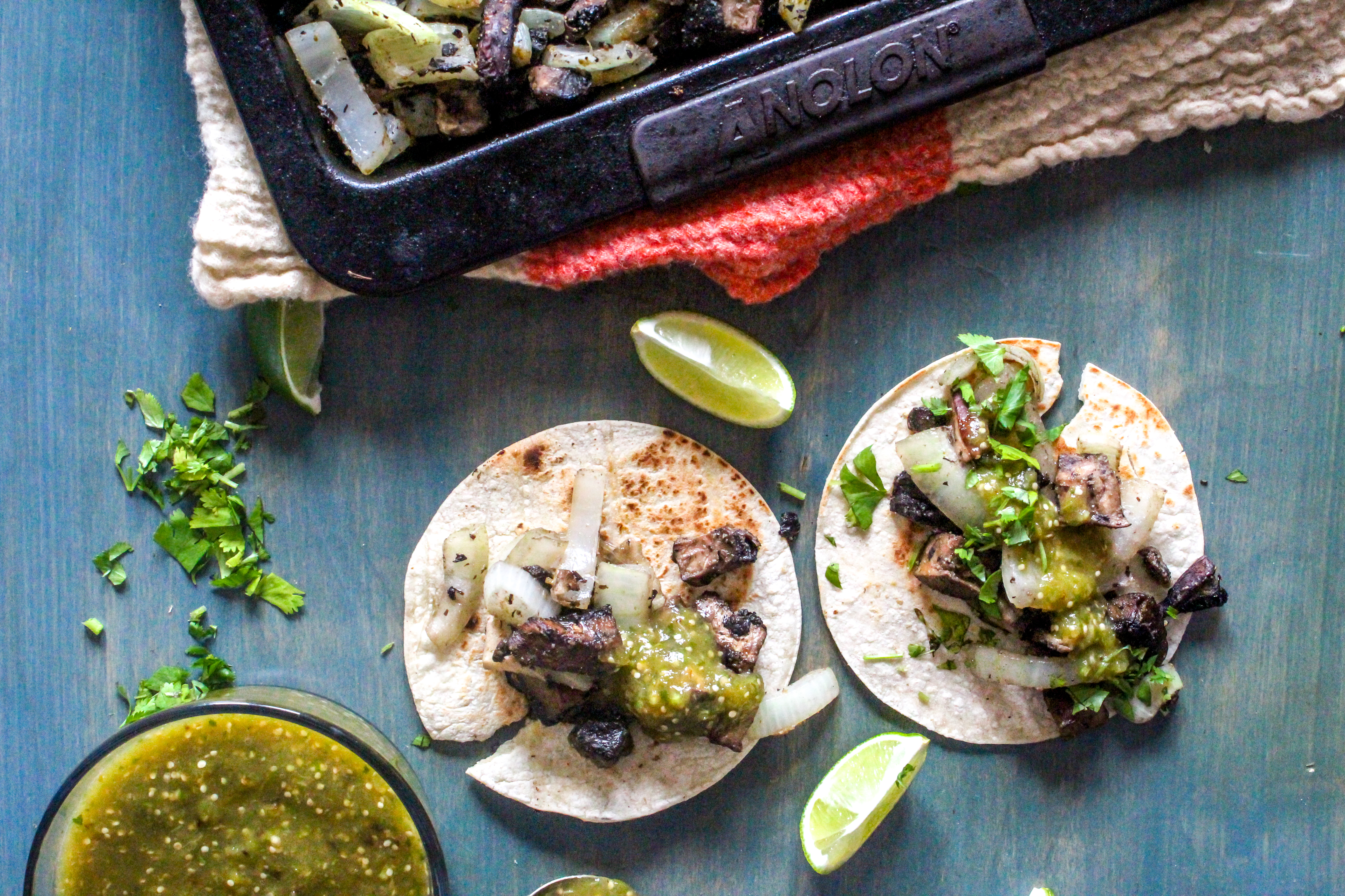 Portobello Sheet pan Tacos with Salsa Verde