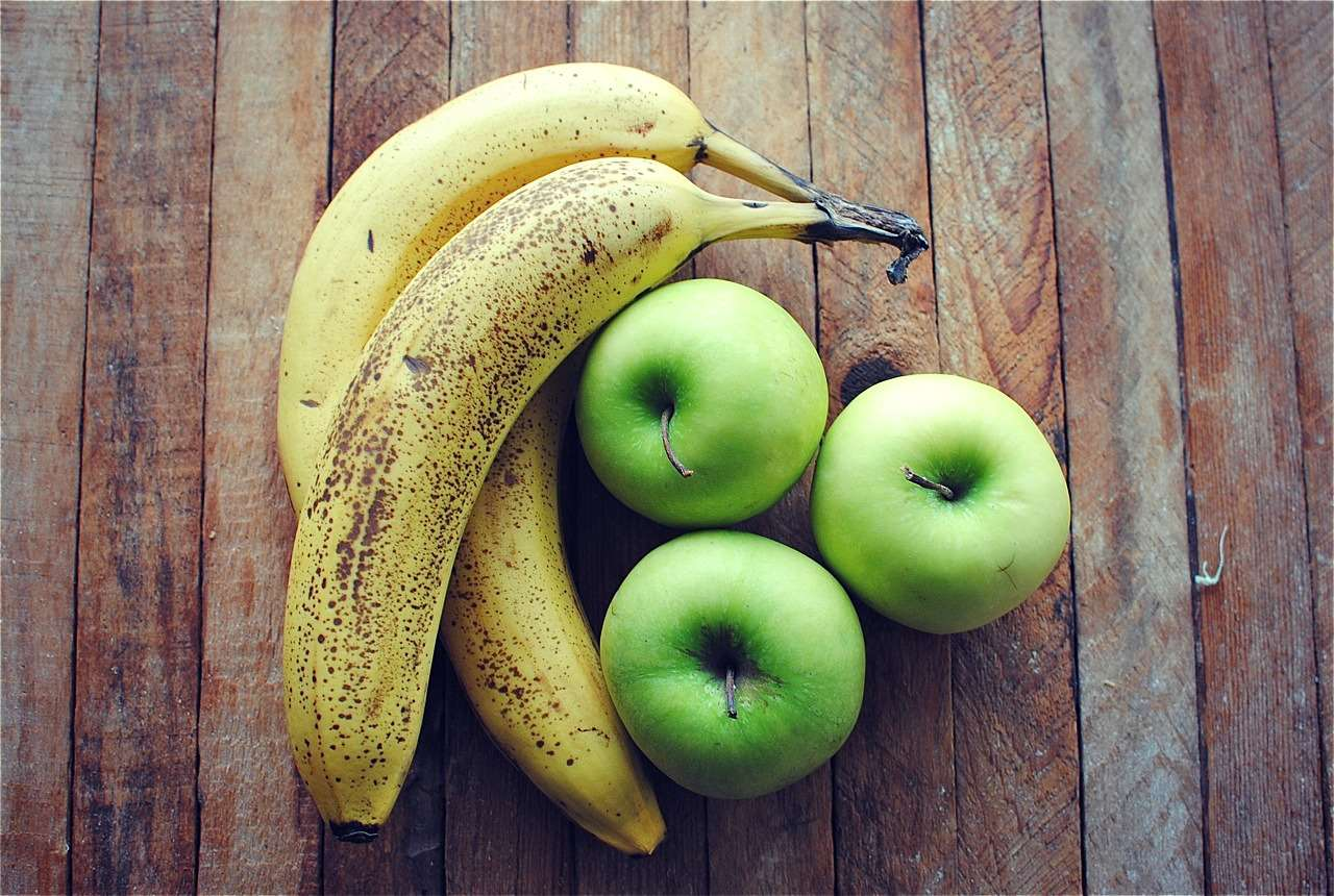 Green apples and bananas