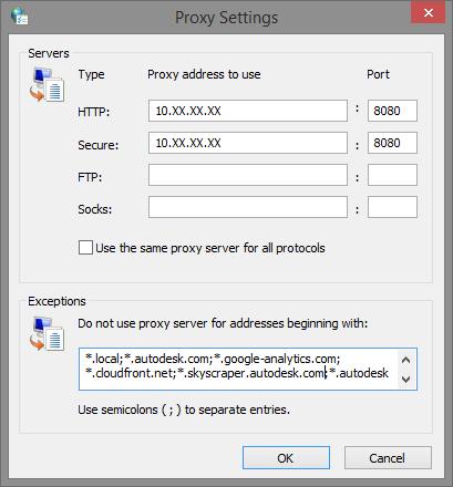 Revit Cloud Worksharing: Proxy Server and domain exceptions | Revit