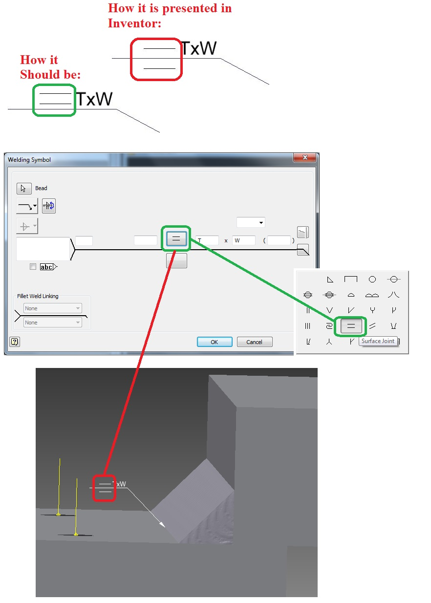 Welding Symbol Surface Joint Incorrectly Represented In Weldment Diagram User Added Image