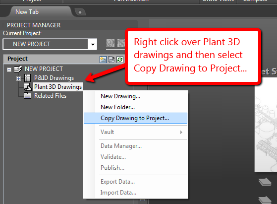 How to copy an AutoCAD Plant 3D drawing to a new or existing AutoCAD