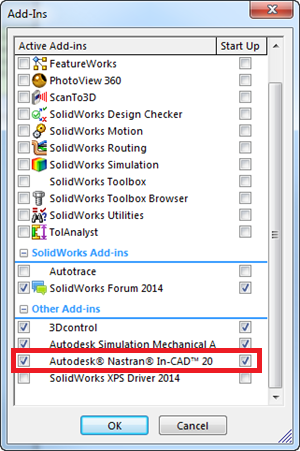 How to enable Nastran In-CAD when it does not appear in