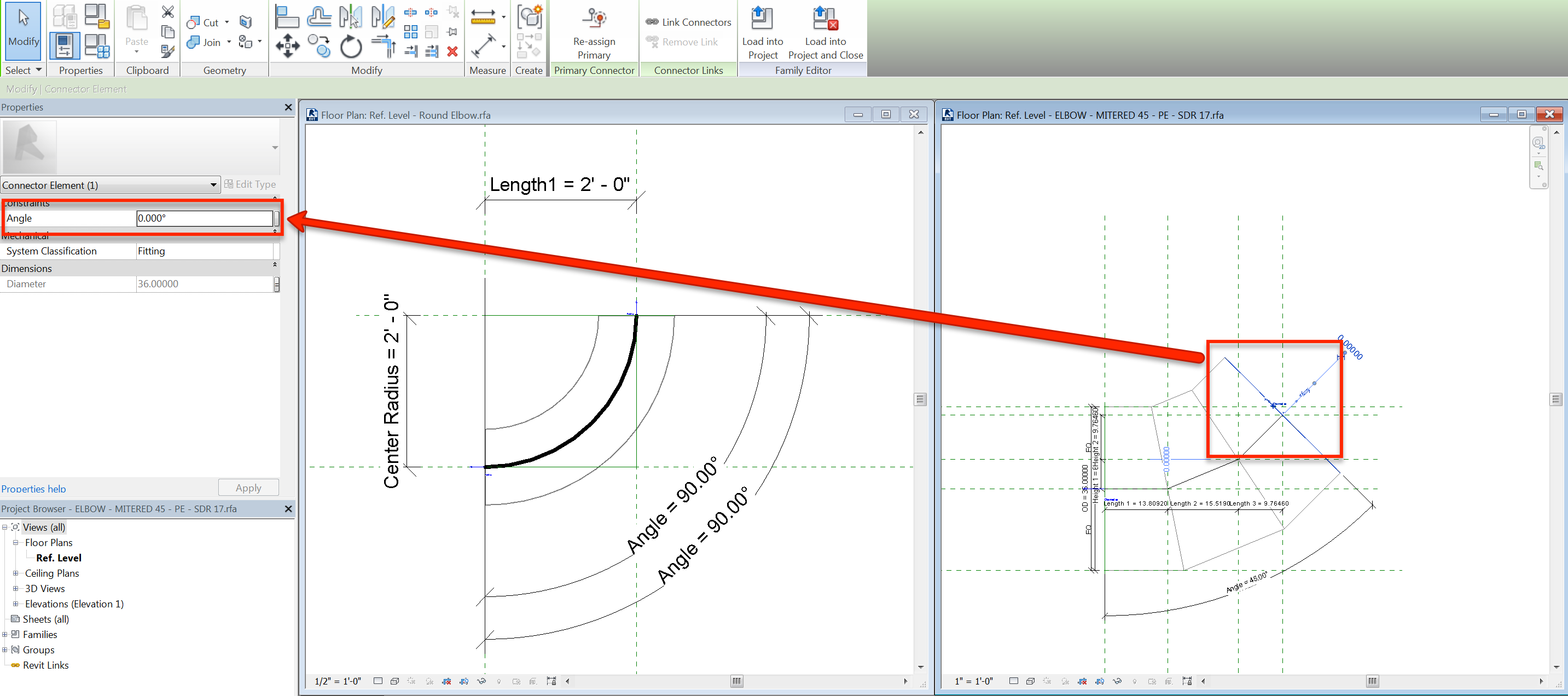 Revit: Drawing duct or pipe with custom elbow results in