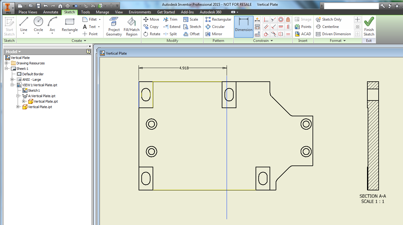 Inventor: Exact positioning of section line in the IDW source view ...
