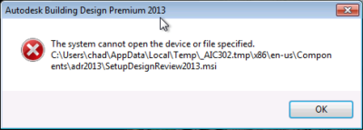 Error The System Cannot Open The Device Or File Specified During