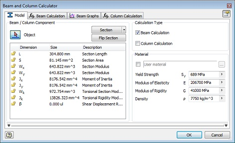 Beam and column calculations cannot be performed | Inventor