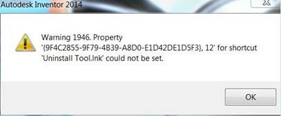 warning 1946 property 12 for shortcut uninstall toolink could not be set