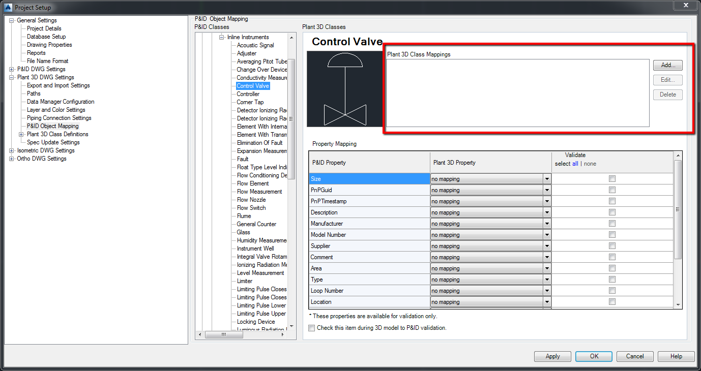 How to map an AutoCAD P&ID control valve to an AutoCAD Plant