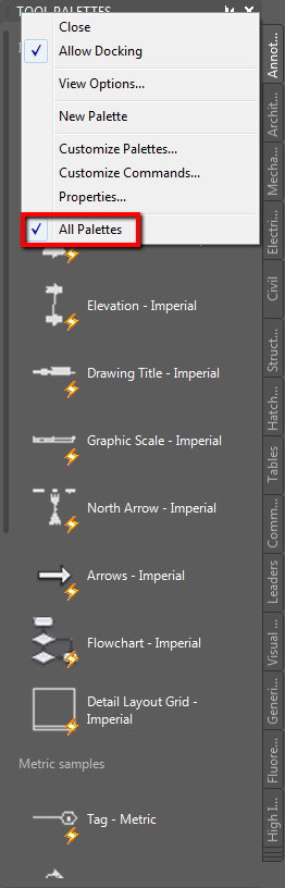Missing Tool Palette Groups In Autocad Architecture Or Autocad Mep