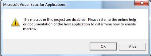 """Error """"The macros in this project are disabled """" when"""