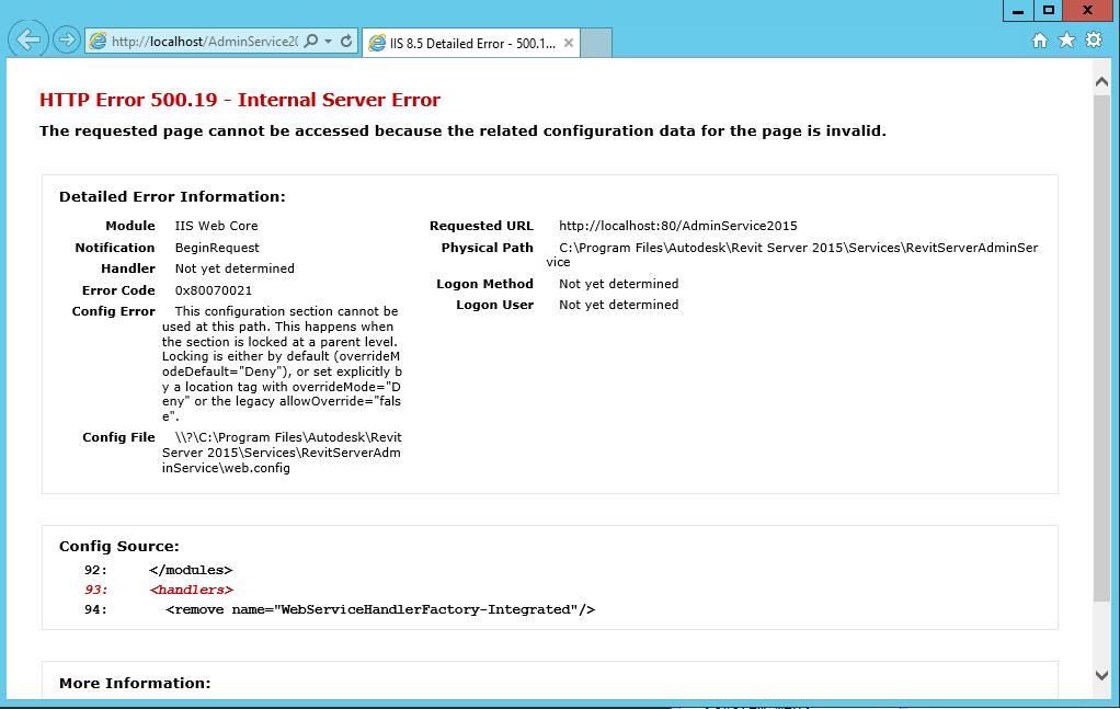 Revit Server: HTTP Error 500 19 – Internal Server Error when