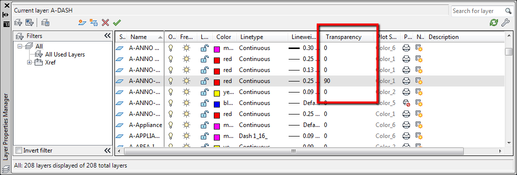 how to set transperency on image in autocad
