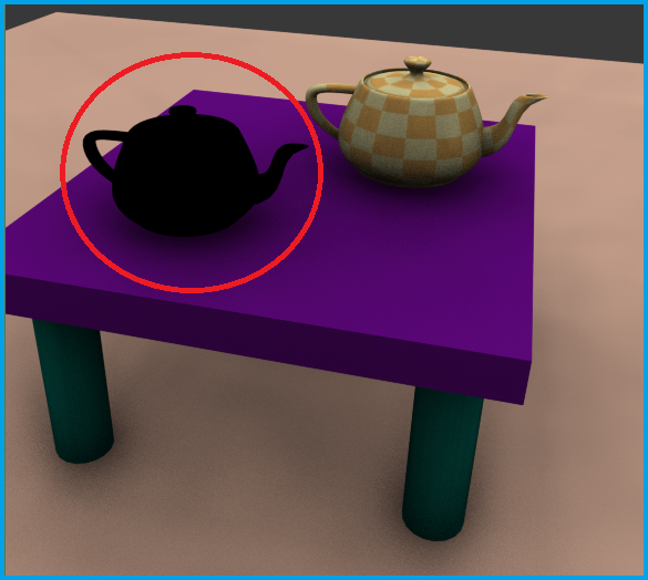 The highlighted teapot is using a VRay material next to a teapot using a standard 3ds Max material.