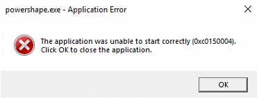 The application was unable to start correctly