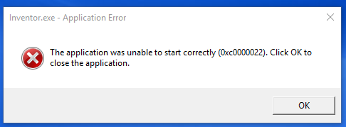 The application was unable to start correctly (0xc0000022