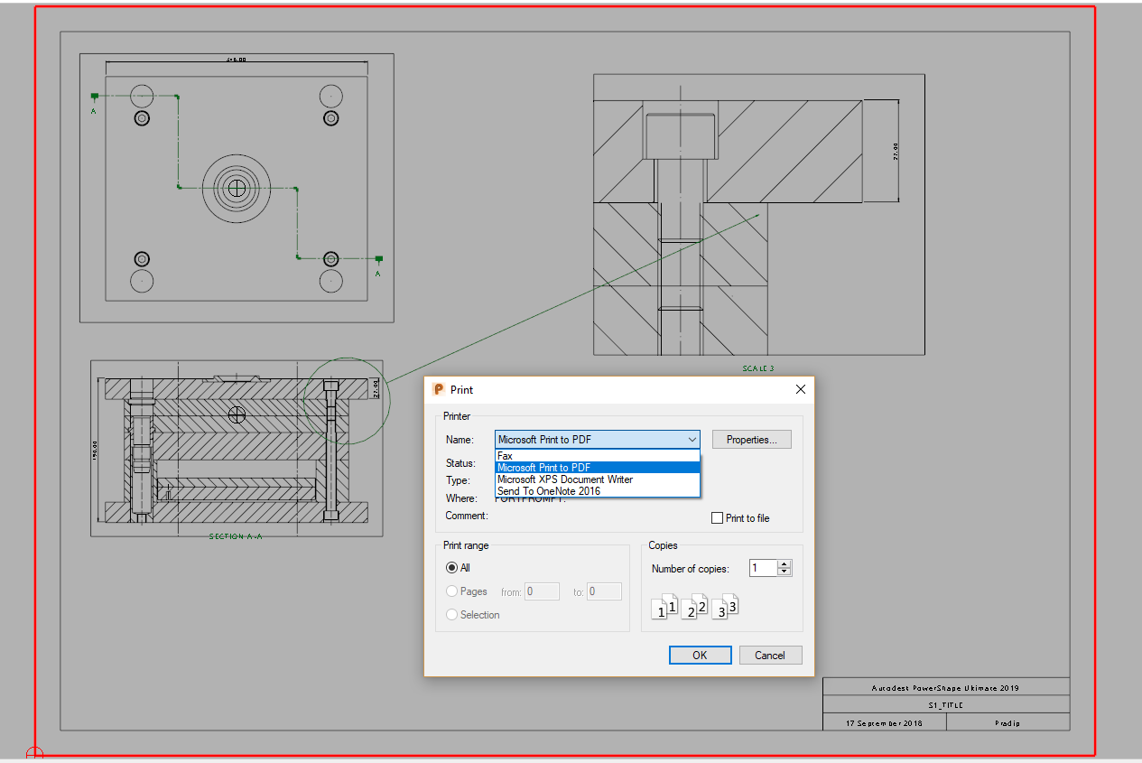 How to create a PDF of a print made using Drafting in