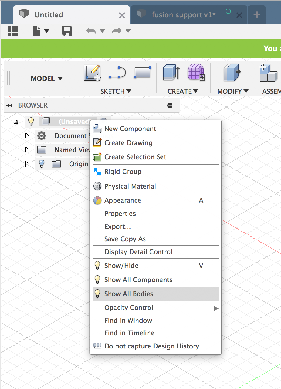 A Body or sketch is invisible in Fusion 360   Search