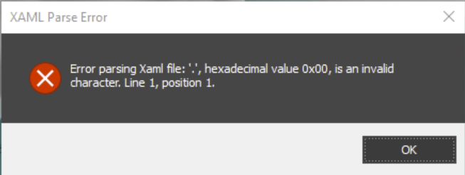 """XAML Parse Error: ""."", hexadecimal value 0x00, is an invalid character. Line 1, position 1."" when starting 3ds Max"