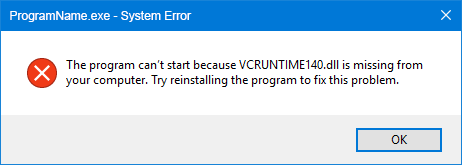 The program can't start because VCRUNTIME140 dll is missing