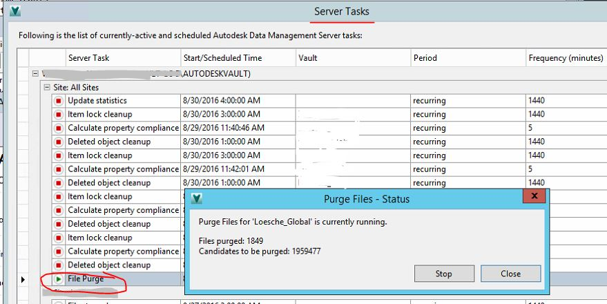 Autodesk Vault purge function not run, when starting about