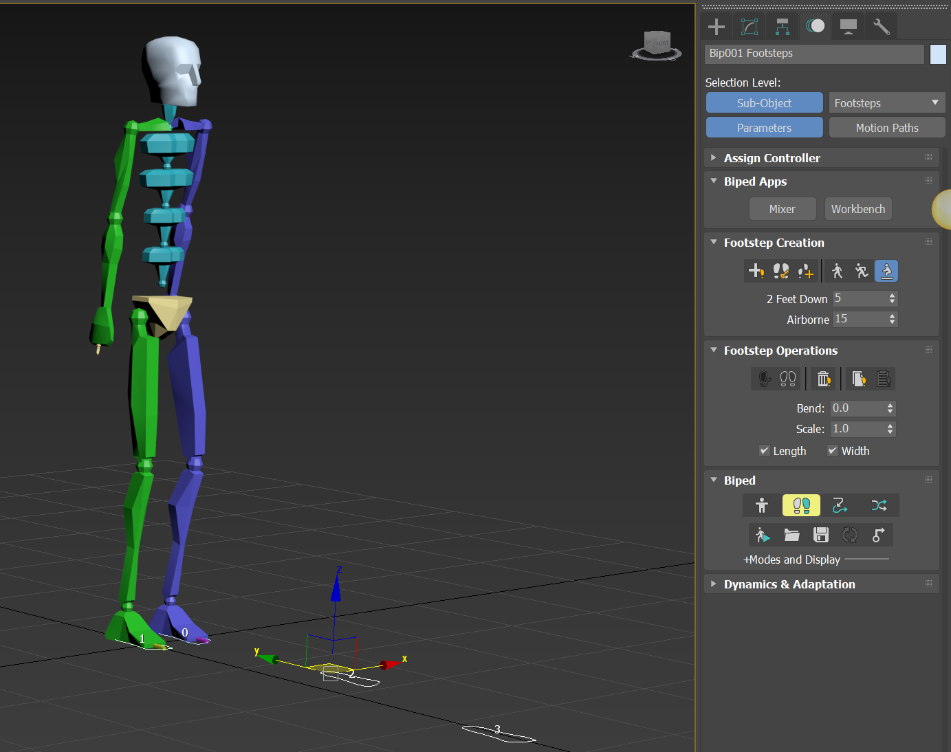 How to scale Biped Footstep keyframes with the dopesheet in