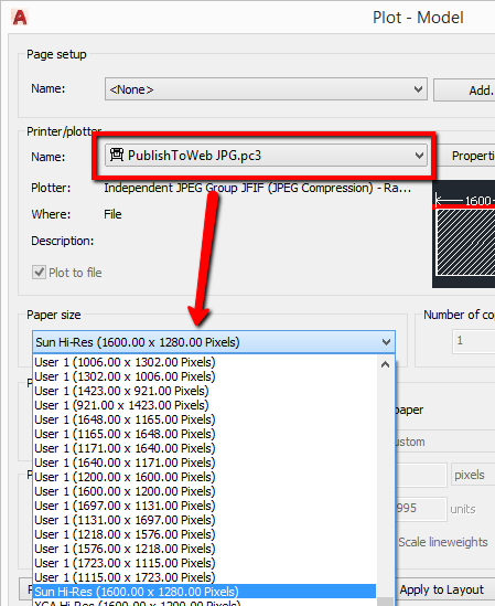 how to print to a high resolution jpg jpeg file autocad 2017