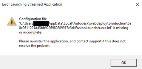 Error Launching Streamed Application Could not execute the