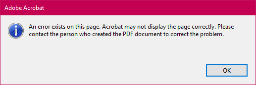 Plotting to PDF from AutoCAD results in an error in Acrobat Reader