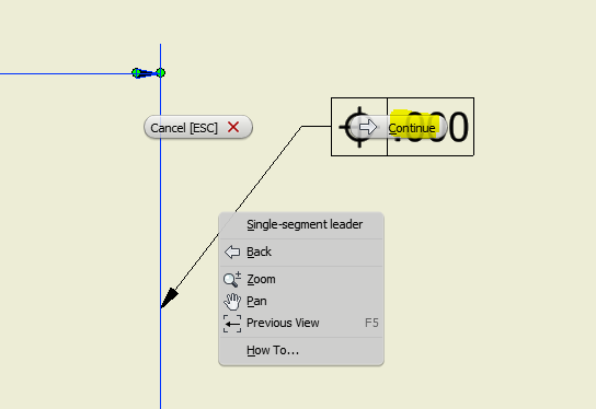 Align the GD & T control frames to Dimension Extension lines in ...