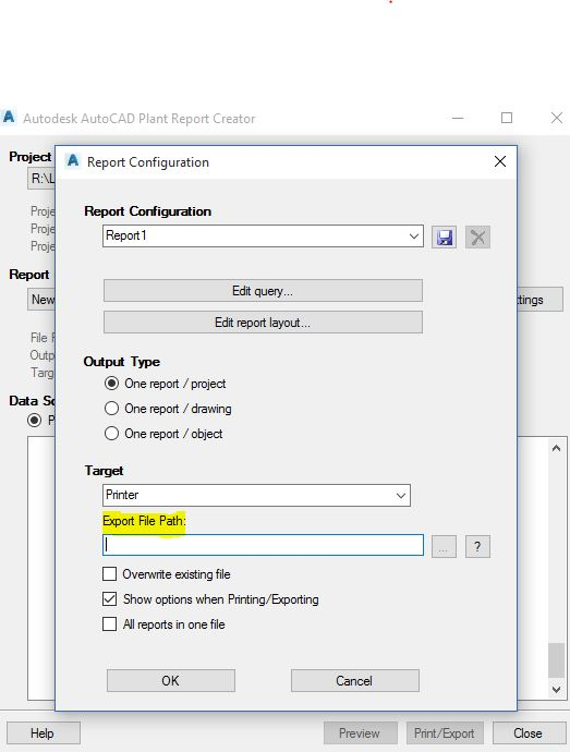 Unable to save report to Excel from the Plant 3D Report