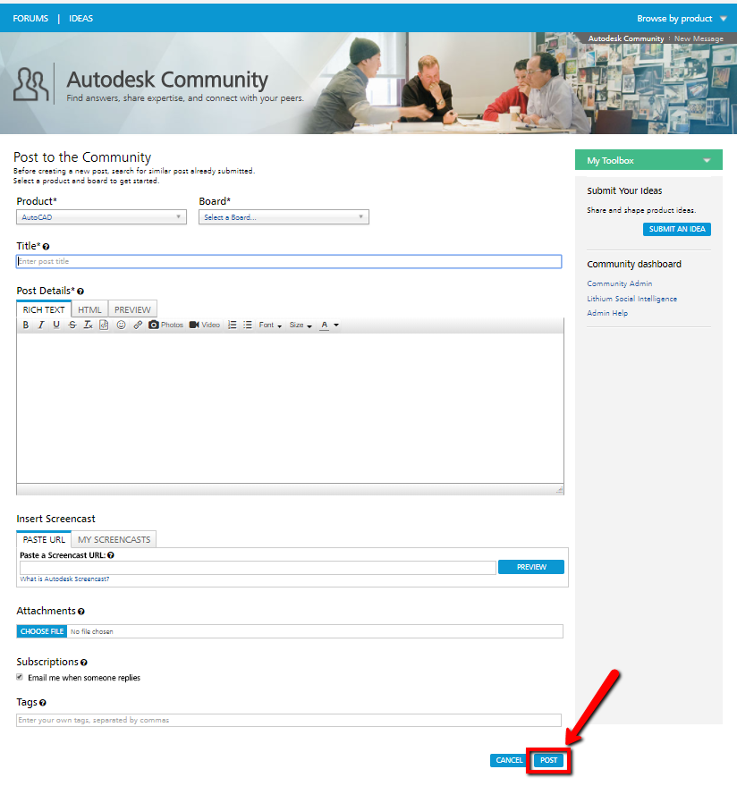 How to post to the Discussion Forums | Search | Autodesk Knowledge