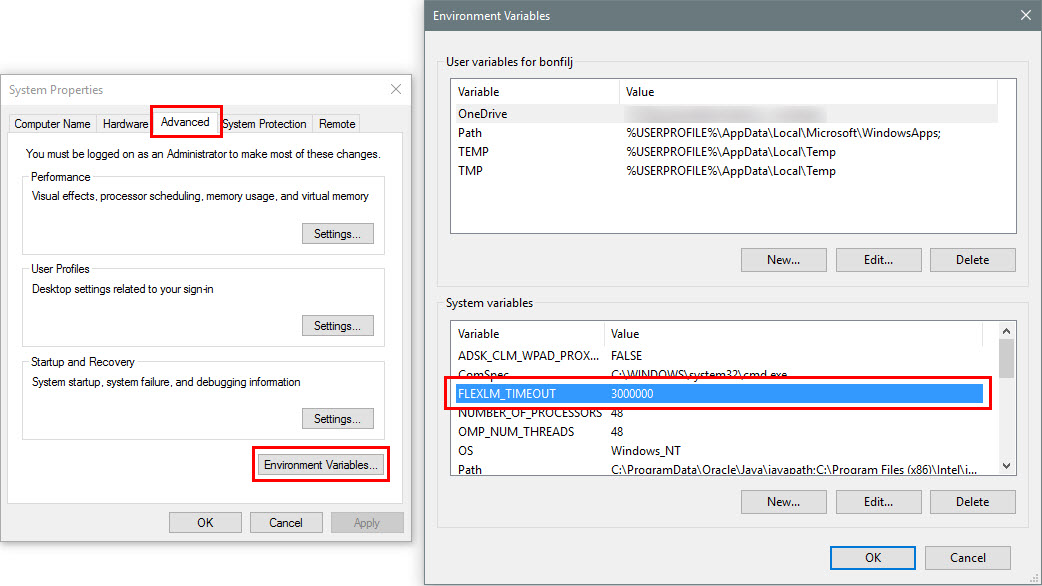 How to create a FLEXLM_TIMEOUT environment variable   Search
