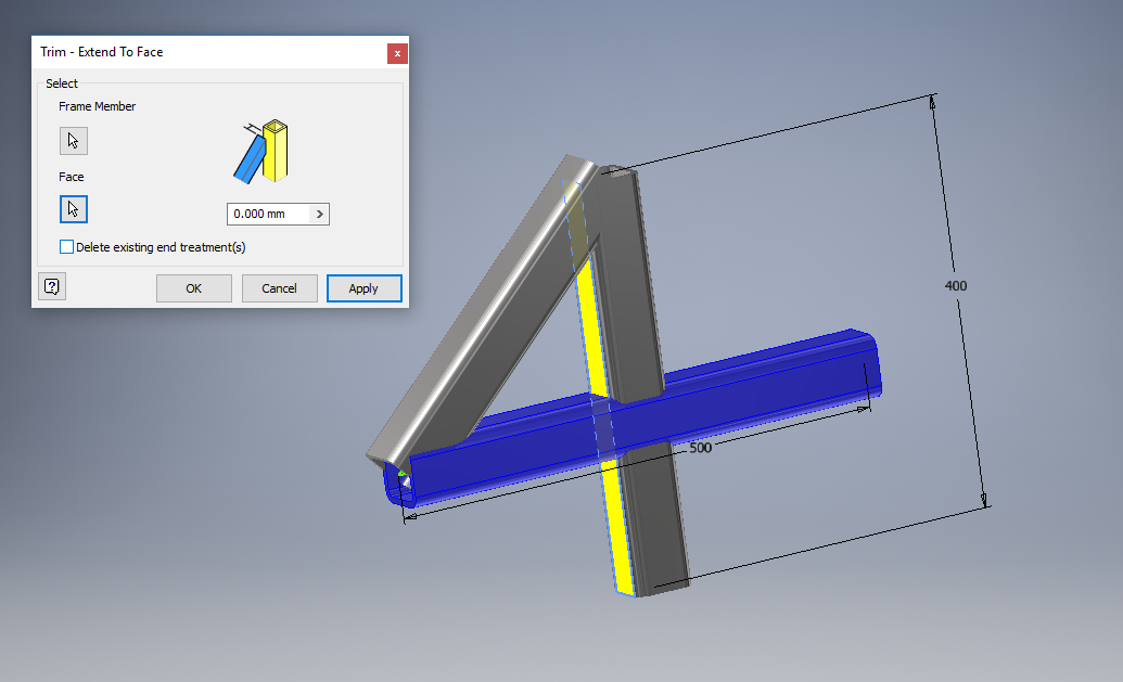 Inventor Frame generator Trim - Extend to Face command does not trim ...