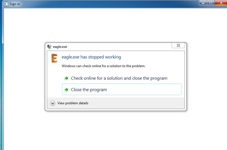 Eagle.exe 8.4 has stopped working on Windows 7 | EAGLE | Autodesk ...