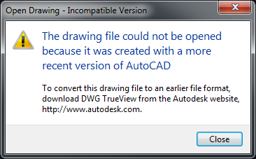 How to save an AutoCAD drawing to a previous or older file format