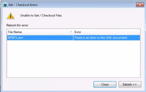 error there is an error in the xml document when you check in or