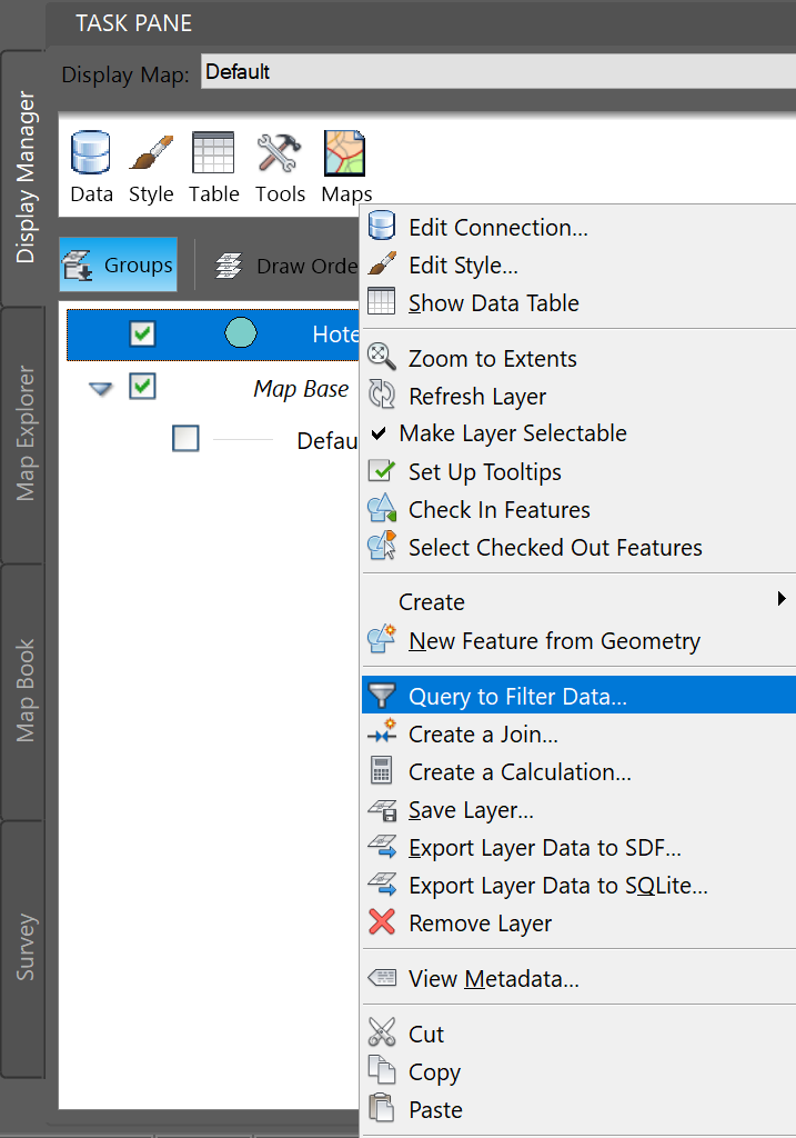 How to limit the table view of FDO features to the features