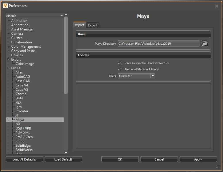 Maya file import or export is not possible in VRED | VRED