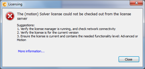 The (motion) solver license could not be checked out from