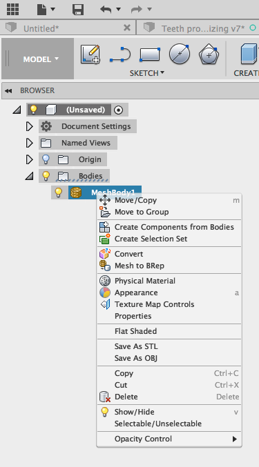 How to convert a mesh to a BRep in Fusion 360 | Search