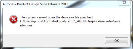 The system cannot open the device or file specified