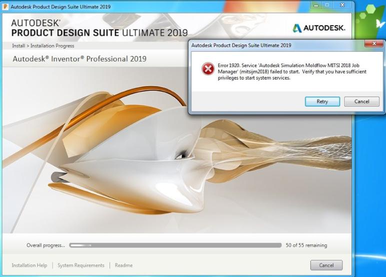 Error 1920  Service 'Autodesk Simulation Moldflow MITSI 201x