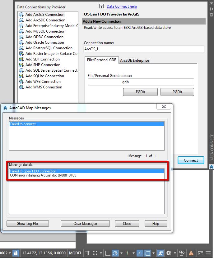 COM error initializing ArcGIS FDO